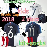 Wholesale cotton kit - 2 stars 2018 World Cup mbappe kids kit + socks soccer Jersey PAYET POGBA GRIEZMANN KANTE MATUIDI Mbappé COMAN Jerseys Football shirt wear