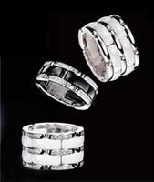 anel de cristais pretos venda por atacado-Alta qualidade dupla linha preto e branco de cerâmica embutidos anel de cristal cauda anel de moda de luxo jóias engagment anéis para mulheres homens