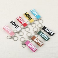 Wholesale b letter pendant - High End Fabric Key Buckle Fashion For Men And Women Keyrings Pendant English Letter Love Smile Pattern Keychain Leisure 0 8fh B