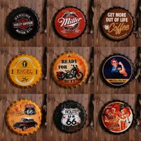 Wholesale caps business - Retro Beer Bottle Cap Tin Sign Wall Decoration Pendant Bar Fashion Originality Metope Iron Skin Painting Arts And Crafts 14 5zz Ww