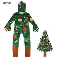 monos adolescentes al por mayor-Disfraz de árbol de navidad para niña adolescente conjunto Halloween Kid Hat + Print Jumpsuit Romper 2PC Outfit Niños Ropa Chándal Cosplay