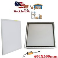 Wholesale Led 48w - Stock In US + 48W led panel 600X600mm Silver White frame led panel 2ft X 2ft led light Panel AC 110-240V UL FCC