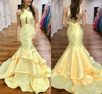Wholesale Taffeta Ruffled Halter Evening Dresses - Light Yellow Mermaid Prom Dresses Halter Tiered Taffeta Backless Long Prom Dresses Simple Sexy Evening Dresses Sweep Train