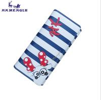 marineblaue brieftaschen großhandel-HKMENGLU 2018 Milu Deer Mode Brieftasche Weibliche Frauen Geldbörse Langen Reißverschluss Blau Weiß Streifen Elch Brieftaschen PU Kartenhalter Navy Tier