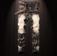 neue männer jeans hose design großhandel-Vintage Jeans Herren New Design Hip Hop Hosen Streetwear Light Wash Jeans Herren Long Pants