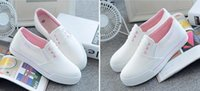 Wholesale white pedals - HOT Spring summer flat white canvas shoes women's white shoes pedal leisure shoes