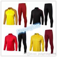 Wholesale Long Jacket Sweaters - AAA Best quality Messi Suarez Iniesta neymar jr soccer training suit jacket pants men long sleeve football tracksuit shirt sweater suit