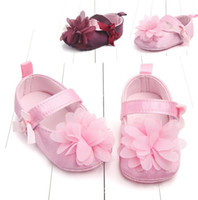 Wholesale purple flower baby shoes online - Cute infants newborn girl anti slip shoes infant baby girls first walkers kids baby bowknot flower shoes