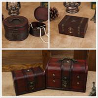 Wholesale vintage treasures - Retro Wood Box Jewerly Storage Box Vintage Flower Cosmetic Makeup Organizer Holder Nostalgic Essential Oil Treasure