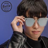Wholesale Korean Men Sun Glass Fashion - Sella Fashion Korean Style Oversized Women Men Square Mirror Lens Sunglasses Popular Transparent Frame Film Coating Sun Glasses