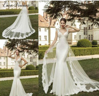 Wholesale Lace Wedding Dress Mermaid China - C.V Europe Fashion Detachable tail V neck elegant mermaid wedding dress hollow backless lace appliques plus size china bridal gown w0275