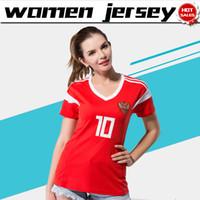 Wholesale russian women sale - Russia women home Soccer Jersey 2018 world cup women Russian female soccer shirt 2018 #9 DZAGOEV #10 SMOLOV girl Football uniforms sales