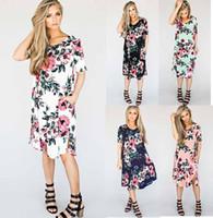 ingrosso nuovo vestito casuale della spiaggia della boemia-Nuove donne di stile Euro abbigliamento O-collo con stampa floreale Bohemia abito donna abito da spiaggia manica corta casual