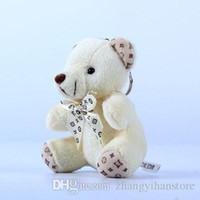 blinkender teddybär groihandel-Großhandel-30 Teile / los Kawaii Kleine Gemeinsame Teddybären Gefüllte Plüsch Mit Bogen 10 CM Spielzeug Teddybär Mini Bär Ted Bears Plüschtiere Geschenke 078