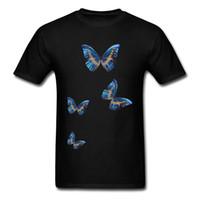 kelebek mavi tasarımlar toptan satış-Erkekler Için rahat Yaz T-shirt Mavi Kelebekler Tasarım Erkek Yenilik T Shirt Kısa Kollu Siyah sevgililer Günü Hediye Tees