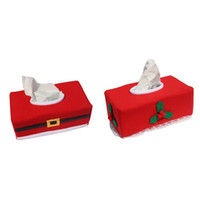 Wholesale Black Santa Ornaments - New Cute Creative Christmas Santa Claus Paper Tissue Box Covers Case Holder Home Decoration Creative Napkin Holders