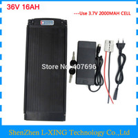 Discount 42v 2a charger - Electric Bike battery 36V 16AH 500W 36 V lithium battery pack with tail light use 2000mah 18650 cell 15A BMS 42V 2A Charger