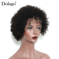 Wholesale afro bob wigs for sale - Afro Kinky Culy Full Lace Wigs Mongolian Short Human Hair Full Lace Short Cut Bob Wig Pre Plucked Dolago Remy