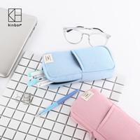 ingrosso sacchetto di trucco di kawaii-Kinbor Cute PinkBlue Canvas Pencil Bag Travel Makeup Brush Pouch Multifunzione Studenti Pencil Case Kawaii Stationery