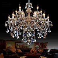 luces de techo dormitorio arañas antiguas al por mayor-Araña de cristal Cognac duplex araña de luz de cristal Villa grande doble comedor sala de estar araña de luz de cristal
