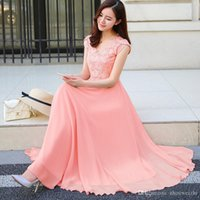 dc2642e30cc casual short chiffon wedding dresses Australia - New Summer Slim Sleeveless Chiffon  Dress V Neck Maxi