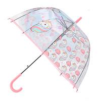 ingrosso ombrelloni in nylon-Semplice moda resistente alle intemperie bella unicorno bambini manico lungo trasparente impermeabile ombrellone da spiaggia JJ-FKYS11-