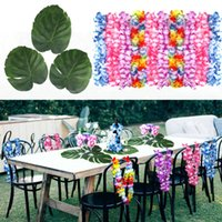 Wholesale table leafs for sale - Group buy Hawaiian Party Grass Table Skirt Artificial Palm Leaves and Artificial Flowers Leis Garland Hawaiian Party Decorations