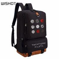 a970507489c8 WISHOT двадцать один пилоты рюкзак мода рюкзак для подростков Мужчины  Женщины bookbag школа сумка путешествия сумка ноутбук