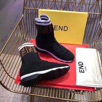 Wholesale toe foot socks resale online - 2018 Fashion Women winter Boots Stretch letter Knit Sock Boots F Brand Breathable Elastic Trainer Casual Skinny feet Ankle Boots