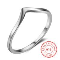 ingrosso v anelli di barretta-monili poco costosi di semplice anello in argento 925 di alta qualità 2019 per le donne gli ultimi anelli di barretta forma di V anelli per adolescenti