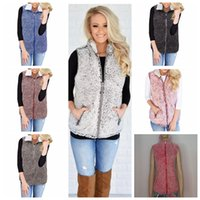 ingrosso zip sul cappotto-Gilet oversize donna Sherpa Cappotto Inverno caldo Gilet in pile senza maniche Outwear Zip Up Jacket Gilet 7 colori M-5XL AAA1322