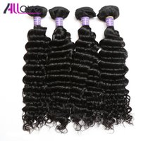 Wholesale best deep wave human hair for sale - Group buy Best A Brazilian Peruvian Indian Hair Wefts Bundles Unprocessed Malaysian Deep Wave Human Hair Extension