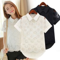 Wholesale wholesale lace shirts - Peter Pan Collar Women Hollow Out Lace Short Sleeve Blouse Shirt Tops Casual Summer Black White Lace Blouses Clothes