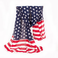 Wholesale girls beach cover - Fashion American Flag Pentagram Chiffon Scarf Fashion Scarves Beach Cover 160 * 70 cm 10 p l