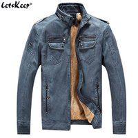 Wholesale Mens Vintage Wool Coat - Wholesale- Letskeep 2017 winter PU leather jacket men vintage thick motorcycle coats mens thermal fleece male leather jacket soft MA408