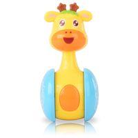 engraçado bebê animais venda por atacado-Engraçado Tumbler Brinquedos Para Novo Bebê Bonito Dos Desenhos Animados Inteligência Plástico Girafa Em Forma de Animais Deslizante Chocalho Sino Agitação Brinquedos Educativos