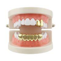 ingrosso oro dentale-Hiphop Gold Denti Grills Top Bottom Single Grills Dental Strass Tooth Halloween Cosplay Denti Berretti Gioielli