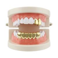 grades brancas dentes de ouro venda por atacado-Hiphop Dentes De Ouro Grelha Superior Inferior Único Grelha Dental Strass Tooth Halloween Cosplay Teeth Caps Jóias