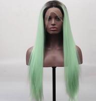 perruque longue cheveux lisses 34 achat en gros de-Vert Ombre Perruque En Dentelle Ombre Foncé Racine Résistant À La Chaleur Fibre Cheveux Longue Soyeuse Droite Vert Synthétique Ombre Perruques Pour Les Femmes Blanches