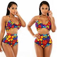 красивые дамы бикини оптовых-Красочные красивые печатных ремень купальник из двух частей бикини Леди пляж бикини набор Сплит купальник бразильских женщин купальники