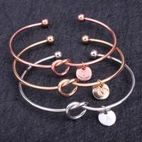 Wholesale 26 Alphabet Letter Knot Bracelet Rose Gold Silver Gold Color Bangle Girl Fashion Jewelry Zinc Alloy Round Pendant Bracelets