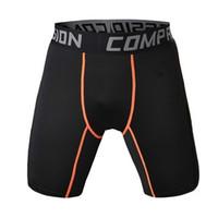 ingrosso collant nere arancioni-Pantaloncini a compressione stretti da basket da uomo Sport Fitness abbigliamento da allenamento di formazione Pantaloncini corti da uomo Homme (linea arancione nera)