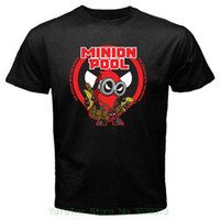ingrosso minion nero-Maglietta da uomo Cool O Neck Maglietta Minion Deadpool Funny Despicable Valentine Black Tshirt