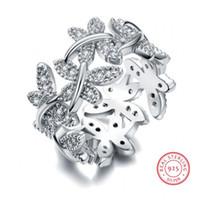 ingrosso puro set di argento sterlina-Victoria Wieck Gioielli scintillanti Luxury 100% Soild Pure 925 Sterling Silver Carino Butterfly White Sapphire Donna Wedding Flower Band Ring Set
