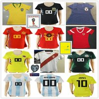 ladies jerseys NZ - 2018 World Cup Women Soccer Jersey Spain Russia Belgium Colombia Brazil Mexico Argentina Japan Peru Ladies Custom Football Shirt