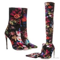 533a05996e53 2018 vente chaude d impression florale pointue cuisse bottes hautes sexy  talon aiguille stretch bottes très longues dame danse discothèque bottillons