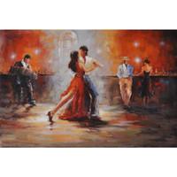 pintores de óleo dançarinos venda por atacado-Top Modern arte abstrata pinturas sala com pintura a óleo handmade da lona do dançarino do tango para a sala de visitas