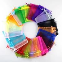 kaşeli kuyumcu çantası toptan satış-100 adet Katı Çok Renkli Organze Takı Çanta Lüks Düğün Vual Hediye Çantası İpli Takı Ambalaj Noel Hediye Kılıfı 9 * 12 cm