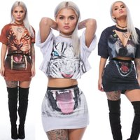 Wholesale women dresses blazers - 2017 Summer 3D Printed Tiger Panther Two Piece Set Dress Women Short Sleeve Cropped T Shirt Tops and Skirt 2 Piece Outfits