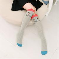 calcetines altos de gato al por mayor-40 cm Cute Animal High Knee Socks Fox Bear Cat Lovely Cartoon calcetines de algodón para niñas en otoño invierno Hot Sale envío gratis